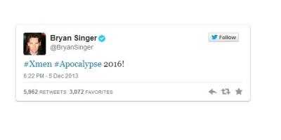 Bryan Singer anuncia la película X-Men: Apocalypse para 2016